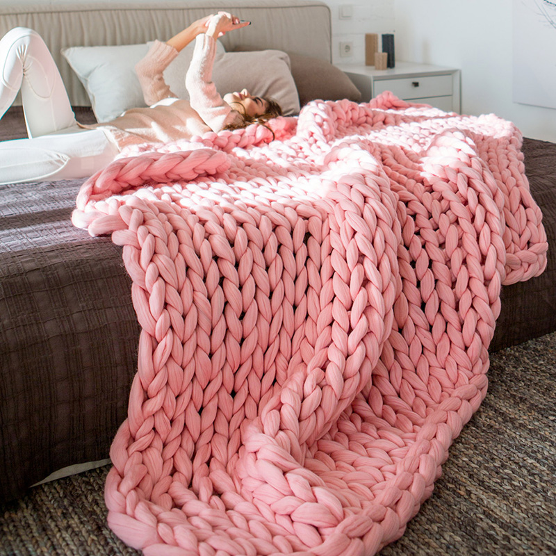 Ins Chunky Kints Wool Weighted Blanket On Bed Sofa In Bedroom Throw