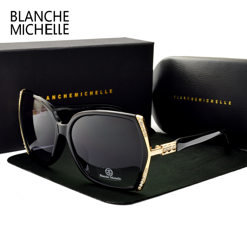 Blanche Michelle High Quality Oversized Polarized Sunglasses Women UV400 oculos de sol Gradient Driving Sun Glasses With BoxWomens Sunglasses   -
