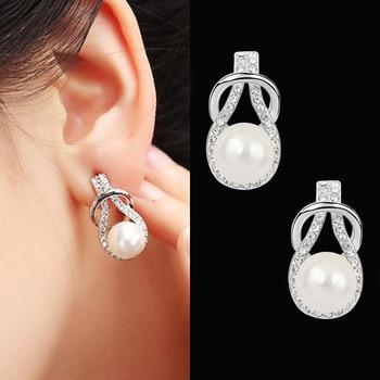 Boucles d'oreilles à la mode avec perle ronde pour femmes classique Simple strass boucle d'oreille de mariage de luxe fête cristal bijoux fins Brincos