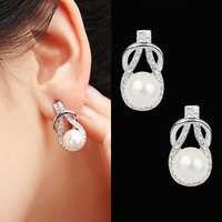 Trendy Round Pearl Stud Earrings For Women Classic Simple Rhinestone Earring Wedding Luxury Party Crystal Fine Jewelry Brincos