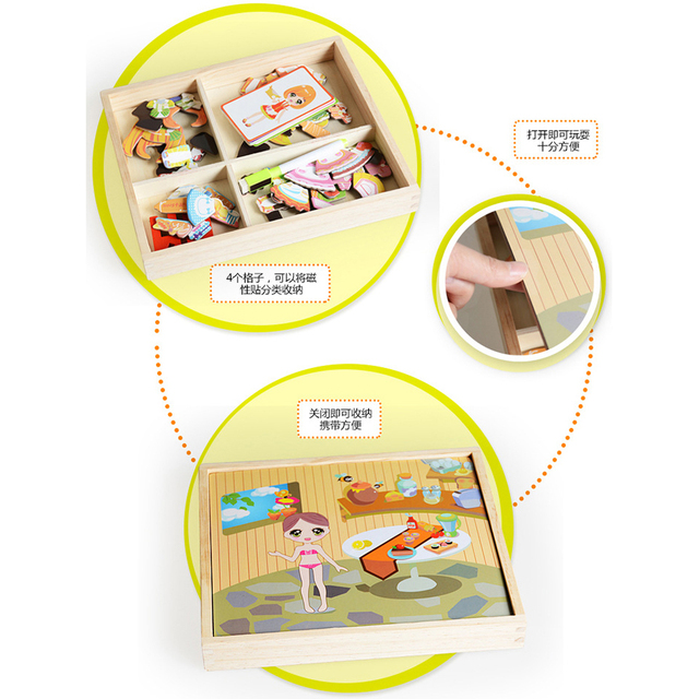 Girl Kitchen Dressup Magnetic Puzzle Game Box Wooden Magnetic Stickers Drawing Board Toy Baby Educational Toys for Children Gift