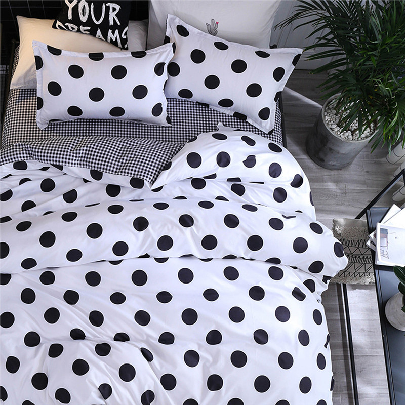 Image 2 - Four Piece Quilt Cover, Pillowcase Dot Black Full Size duvet cover  bedroom sweet dreams Gently mattresses beauty salon couch-in Bedding Sets from Home & Garden