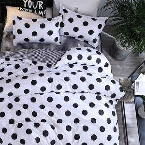 Image 2 - Funda de edredón de Cuatro piezas, funda de almohada con puntos negros, funda de edredón de tamaño completo para dormitorio, dulces sueños, colchones suaves, sofá de salón de belleza