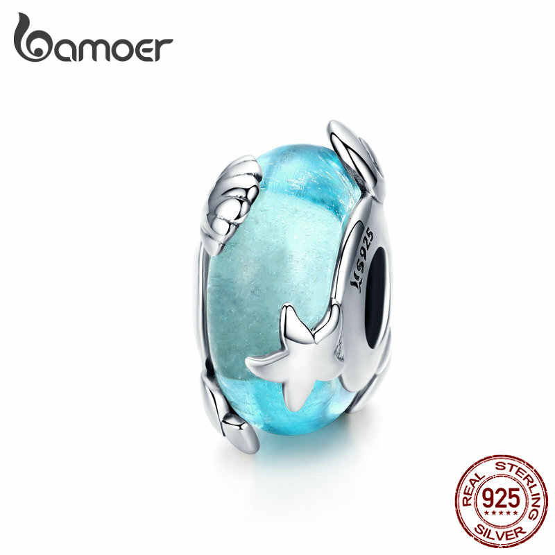 Bamoer אור כחול זכוכית מוראנו חרוזים לנשים תכשיטי ביצוע סטרלינג כסף כוכב ים קסם fit אירופאי קסם צמיד SCC1257