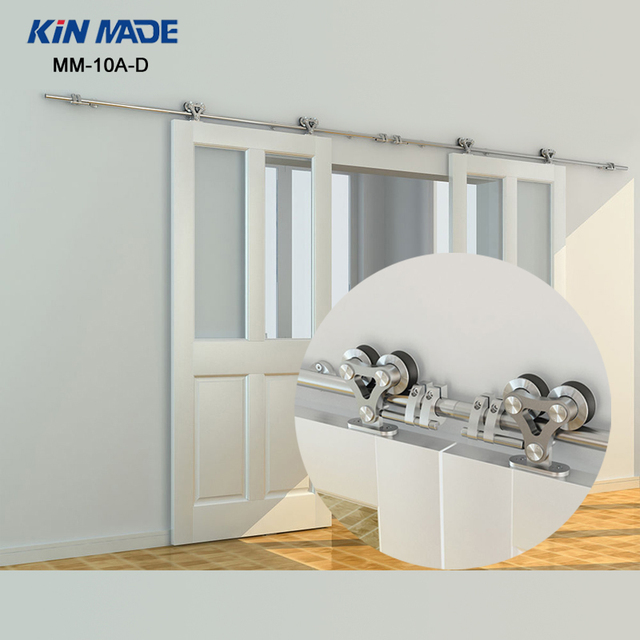 Kin Made Double Wheel Sliding Barn Door Hardware Top Mount Stainless