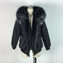 Bomber jackets black with white real lagre raccoon fur collar jacket winter warm fur hooded coats