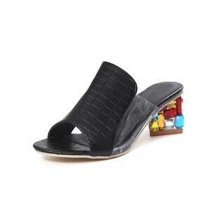 Image 4 - Rhinestone Heel Shoes Peep Toe Womens slippers Sexy Open Toe Shoes Wedge Non slip Womens  High Heel slippers Flip Flop Plus 41