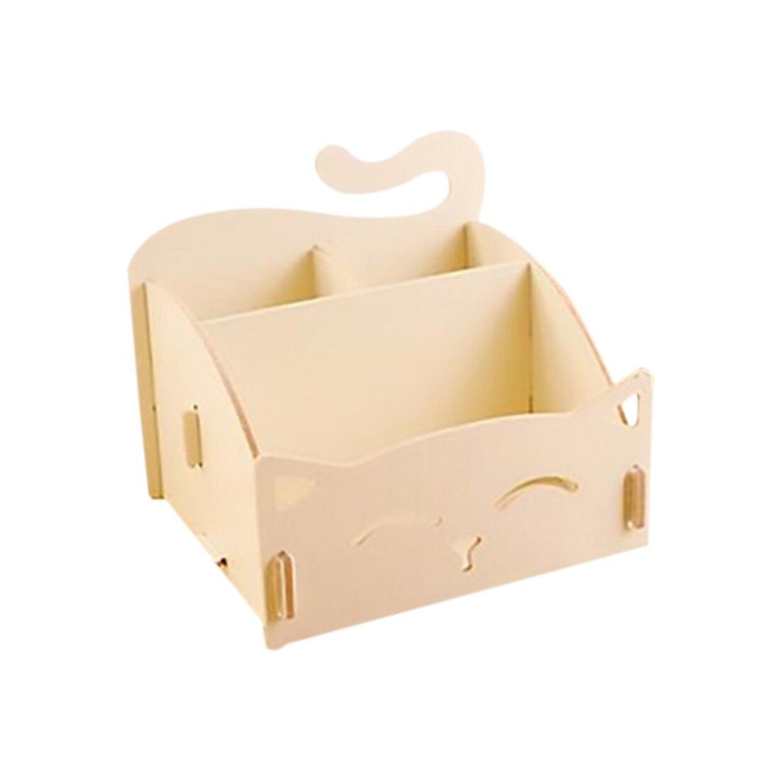 Wooden Box Cute Cat Pen Box Desktop Storage Assembly DIY Wood Makeup Organizer Cosmetics Storage Box 15.4*13*13.5cm (Beige)