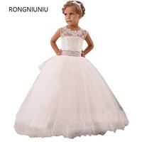 Hot Real Image Ivory White Lace Flower Girls Dresses 2016 Ball Gown Belt Floor Length Girls