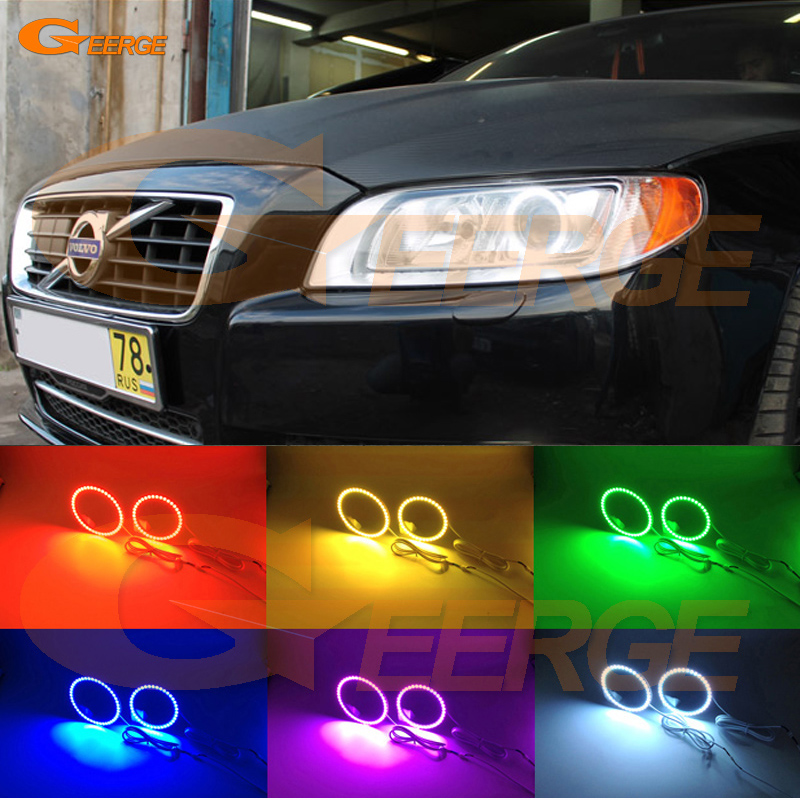 For Volvo V70 2008 2009 2010 2011 2012 2013 2014 2015 Xenon headlight Multi-Color Ultra bright RGB LED Angel Eyes kit Halo Ring for lifan 620 solano 2008 2009 2010 2012 2013 2014 excellent angel eyes multi color ultra bright rgb led angel eyes kit