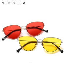 TESIA Sunglasses Women Sunglasses For Women Cat Eyes Female Glasses Fashion Glasses Round Mental Frame Vintage Lens Eyewear(China)
