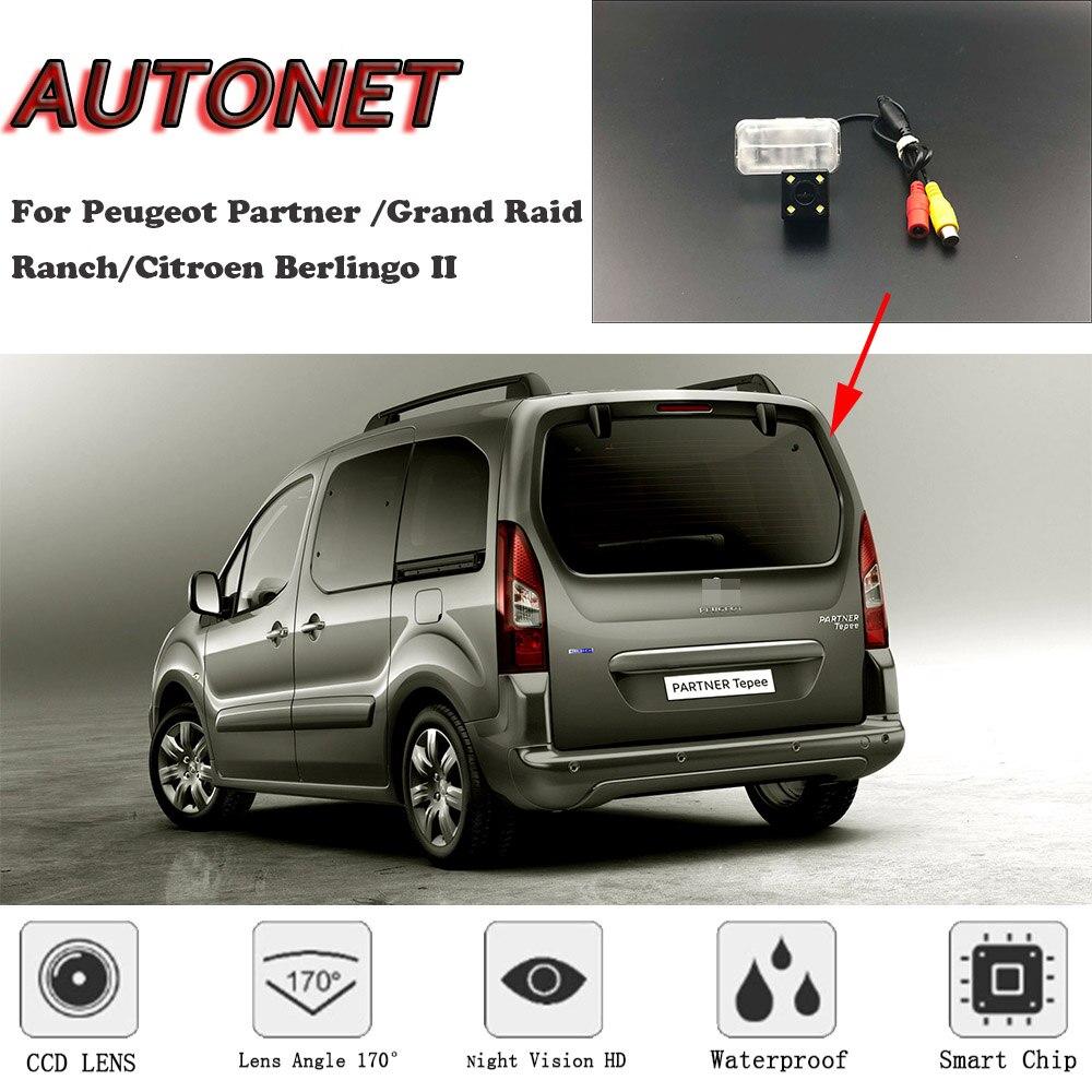 AUTONET HD Night Vision Backup Rear View Camera For Peugeot Partner Tepee/Grand Raid/Ranch/Berlingo 2/license Plate Camera