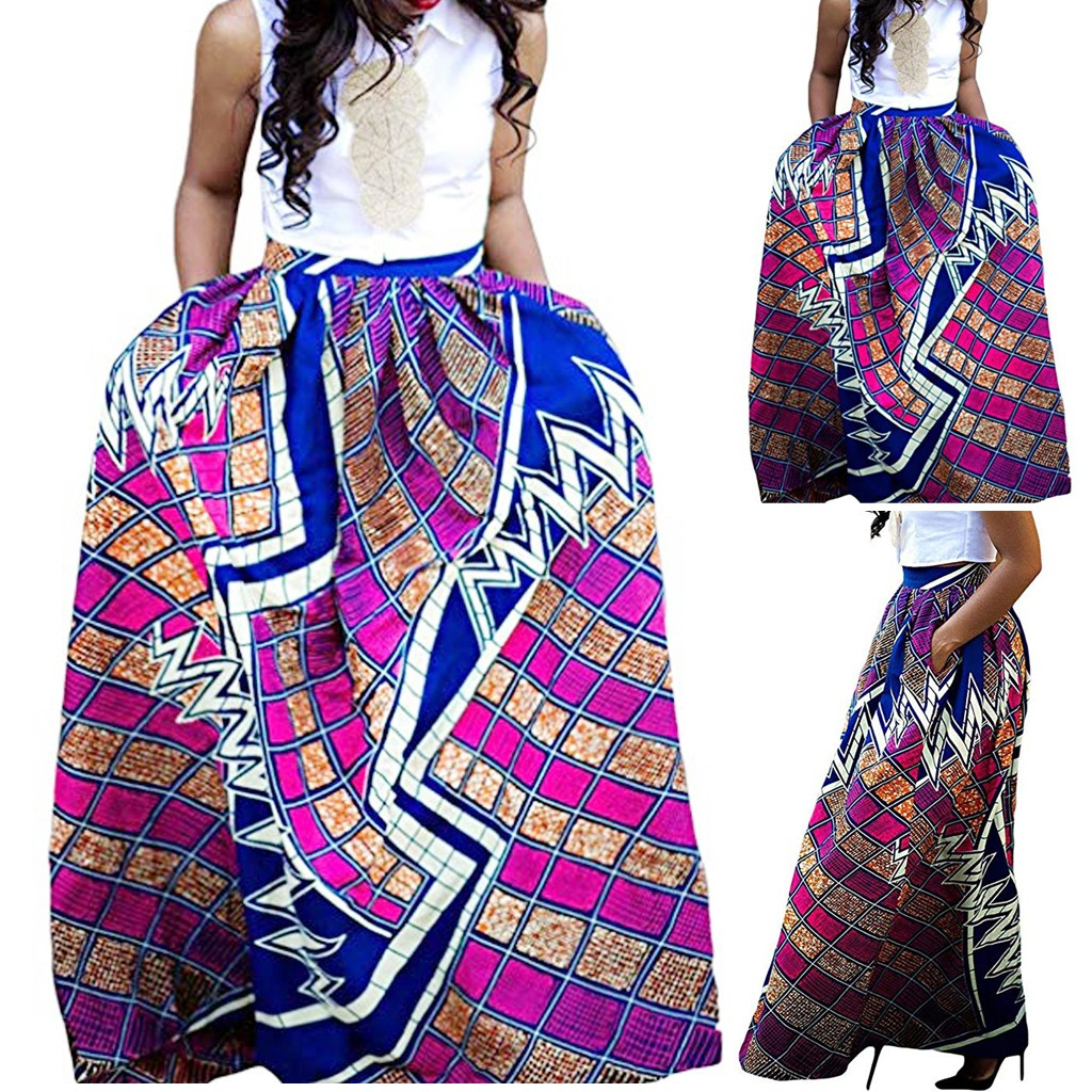 Womens Fashion Print Bohemian Ankle-Length Skirt Leisure African Flower Long Skirt High Waist Asymmetrical Long Skirt
