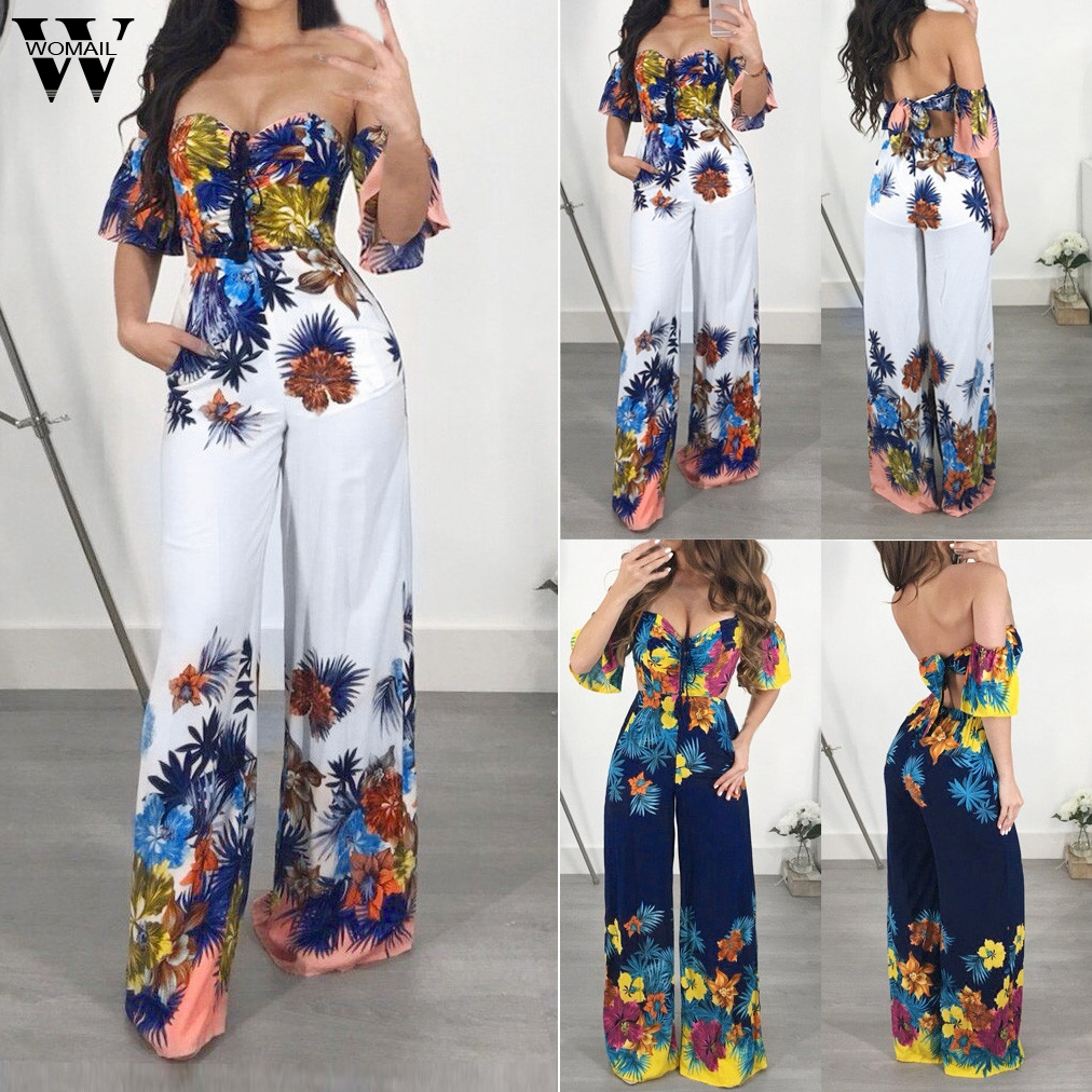 Womail bodysuit Women Summer Fashion Off Shoulder Half Sleeve Sexy Print Simple Beach Sundress long   Jumpsuits   Holiday 2019 A29