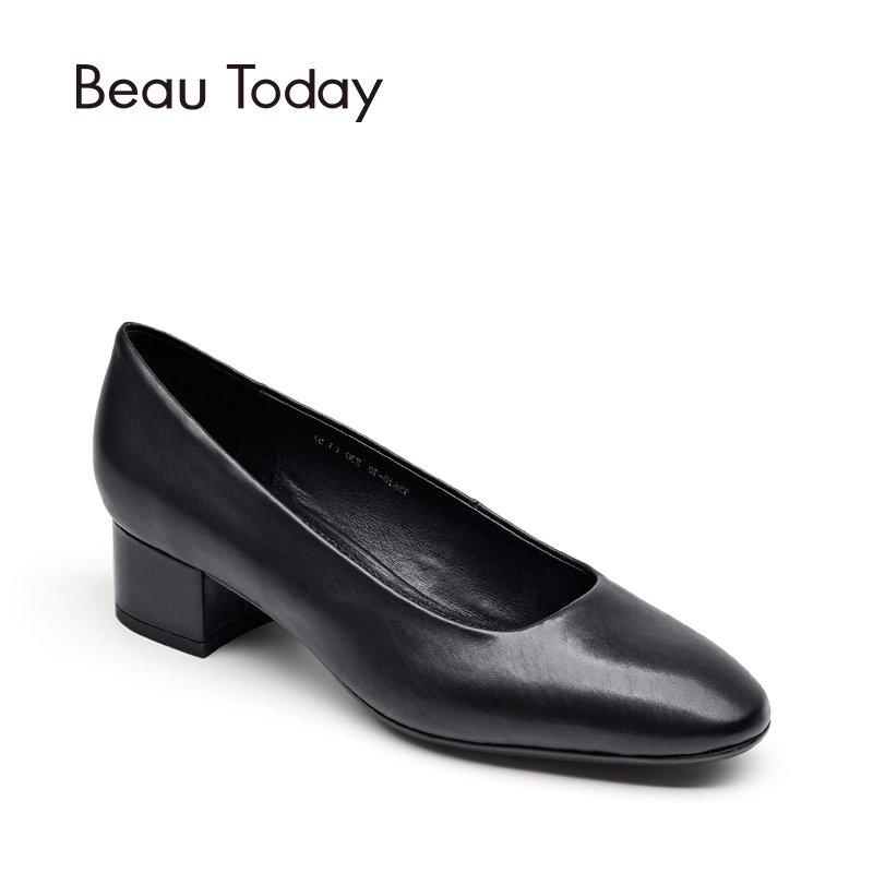 BeauToday Genuine Leather Women Pumps Square Toe Slip-On Career Office Lady Shoes Black Color Med Heel 15610 2017 shoes women med heels tassel slip on women pumps solid round toe high quality loafers preppy style lady casual shoes 17