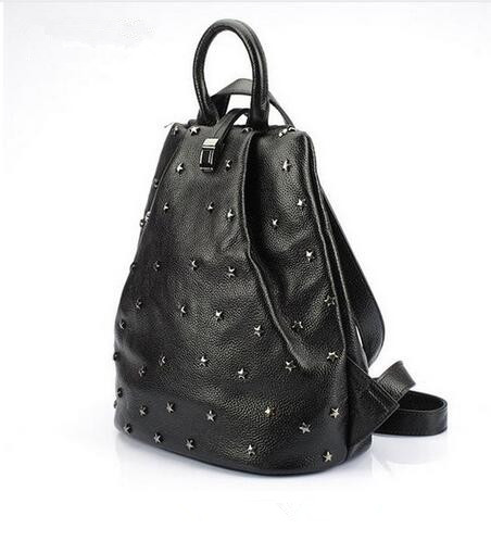 ФОТО TMBOD Goddess Kingdom European and American Style fashion women genuine leather rivet zipper cow leather softback backpacks.y255