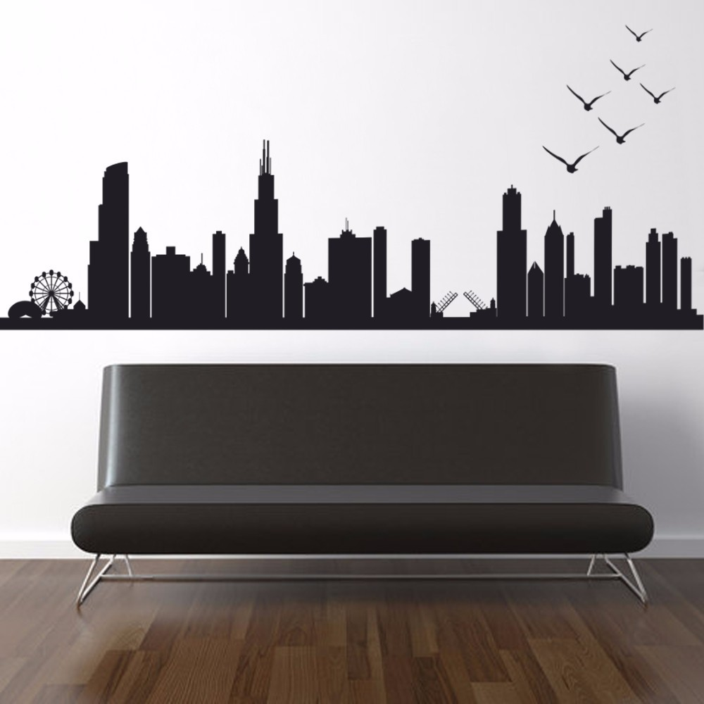 Chicago Skyline Silhouette Wall Decal Custom Vinyl Art Stickers 55.88cm x157.48cm-in Wall Stickers from Home u0026 Garden on Aliexpress.com | Alibaba Group : chicago skyline wall decal - www.pureclipart.com