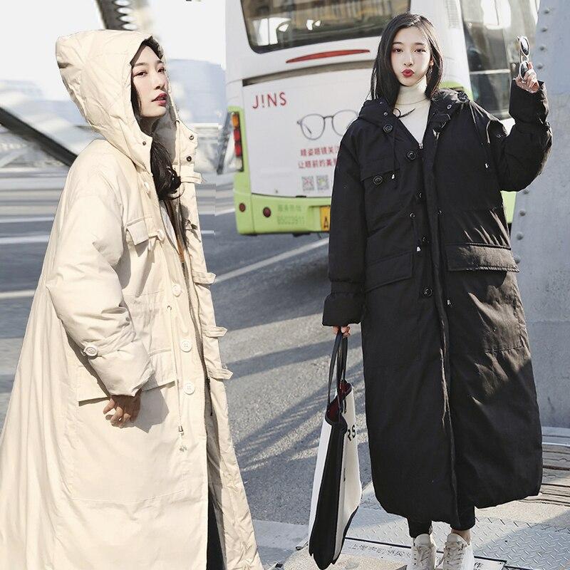 Sur noir Amples Manteaux D'hiver Épais Nouvelle Taille Long À Capuchon Manteau Femmes Femelle Mode 2019 Genou Beige Vestes Parkas Grande HqzO6wR6x