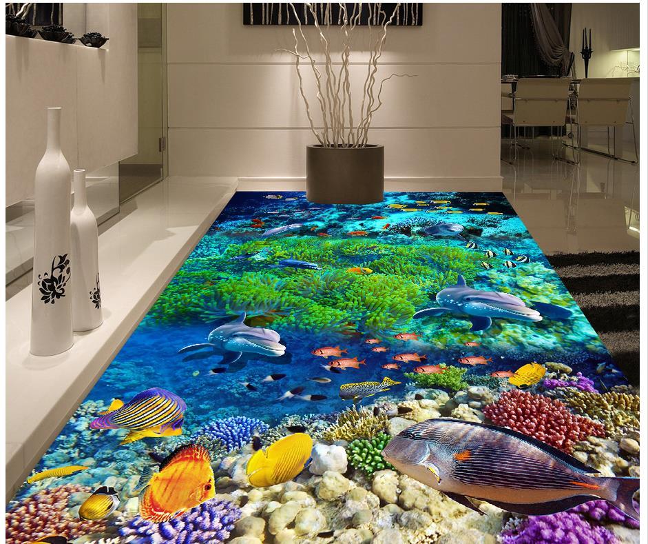 Sea world dolphin 3d floor photo wallpaper mural floor for 3d wallpaper for home floor