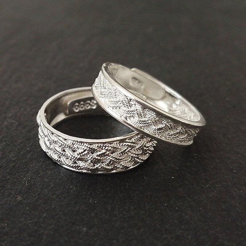 999 en argent Sterling Couple anneaux femmes mariage bague de fiançailles hommes réglable amant de luxe bijoux à la main saint valentin cadeau