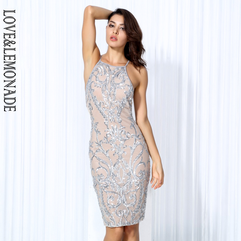 Love Lemonade Sexy Silver Flower Vines Sequined Nude Color Lining Party Dress TB 10176