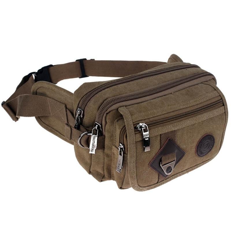 High Quality 2019 Fashion Casual Canvas Messenger Bags Waist Packs Purse Men Portable Vintage Men Waist Bags Travel Belt Wallets