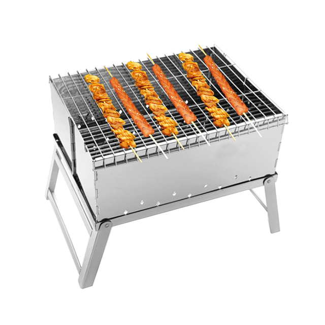 1PC BBQ Grill Set Mini Folding Stainless Steel Barbecue Pits Portable  Charcoal Bbq Grill Bbq Charcoal