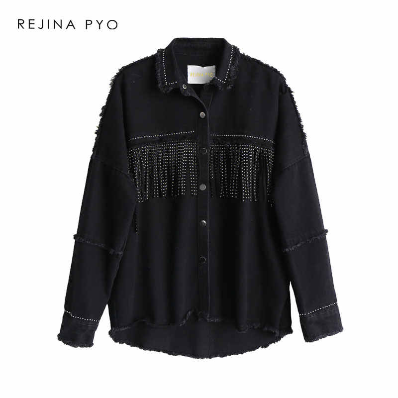 REJINAPYO Women Black High Quality Loose Denim Jacket Coat Sequined Tassels Streetwear All-match Mental Covered Button Outerwear
