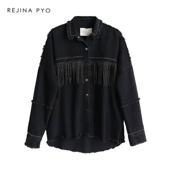 28a117191652a2 REJINAPYO Women Black High Quality Loose Denim Jacket Coat Sequined Tassels  Streetwear All-match Mental Covered Button Outerwear
