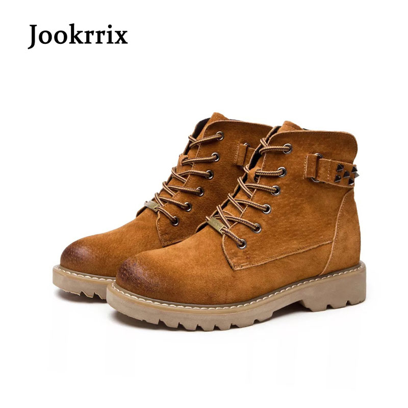 Jookrrix New Autumn Winter Fashion Boot Rivets Shoes Women Lady Genuine Leather Martin Boots Cross-tied Ankle Boots Breathable kelme 2016 new children sport running shoes football boots synthetic leather broken nail kids skid wearable shoes breathable 49