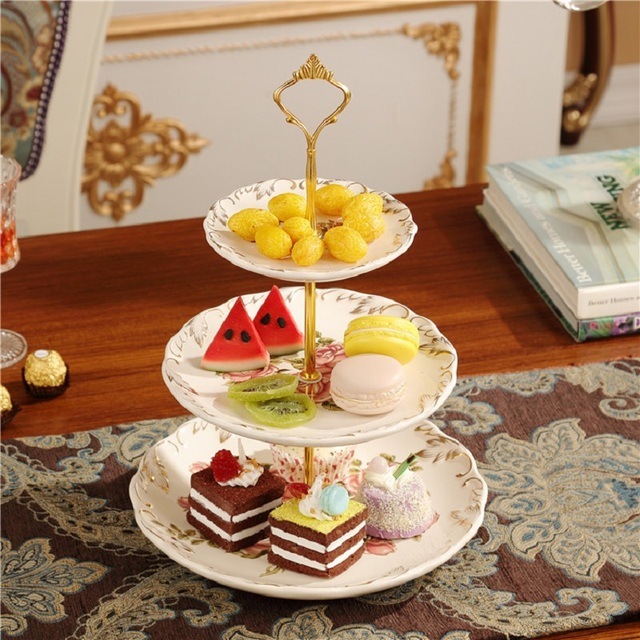 3 Tiered Cake Stand Stainless Steel Candy Fruits Desserts Plate Rods Stand  Hardware For Wedding Party