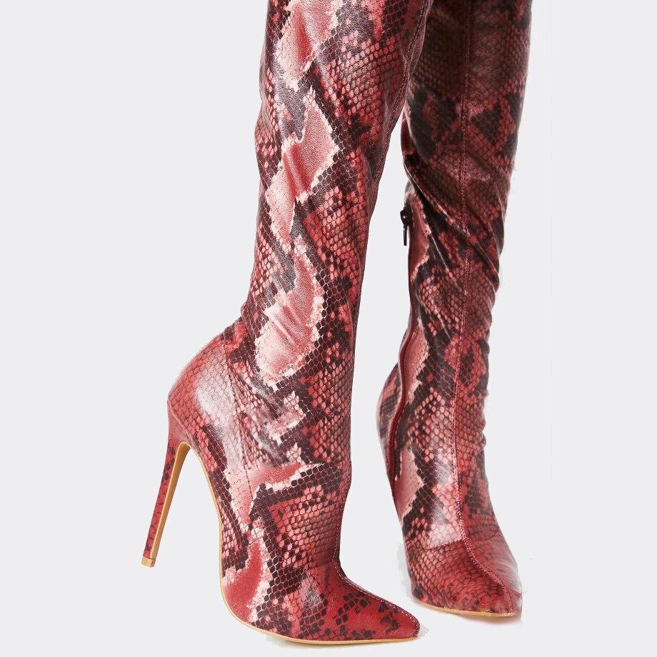 Tacones Cremallera Pic La Cuero Delgadas Mujer Muslo El Casual Botas Hasta Rojo Puntiaguda As Zapatos Sobre Rodilla Altas Mujeres Hiver Altos Patrón Punta Bqvw0FxpO