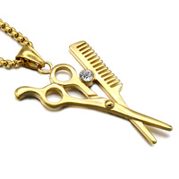 HIP Hop Iced Out Stylist Beautician Necklace Gold Plated Stainless Steel Scissor And Comb Pendants Necklaces