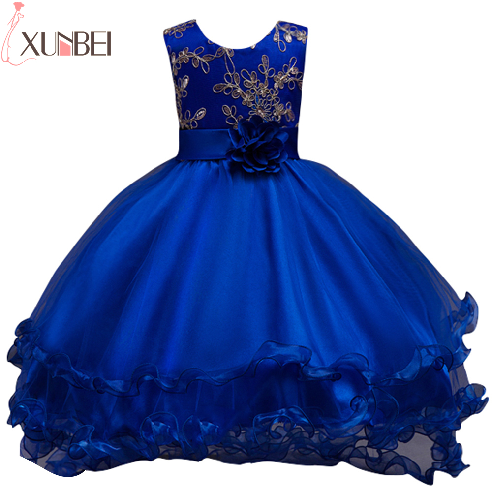 Royal Blue High Low   Flower     Girl     Dresses   2019 Gold Lace Sequin Kids Evening Gowns Pageant   Dress   Ruffles vestido comunion