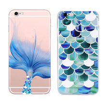 New Mermaid Style Transparent Soft Tpu Case For Apple Iphone 5 5s Se 6 6s Plus Case Silicone Fashion Cell Phone Cover Cases