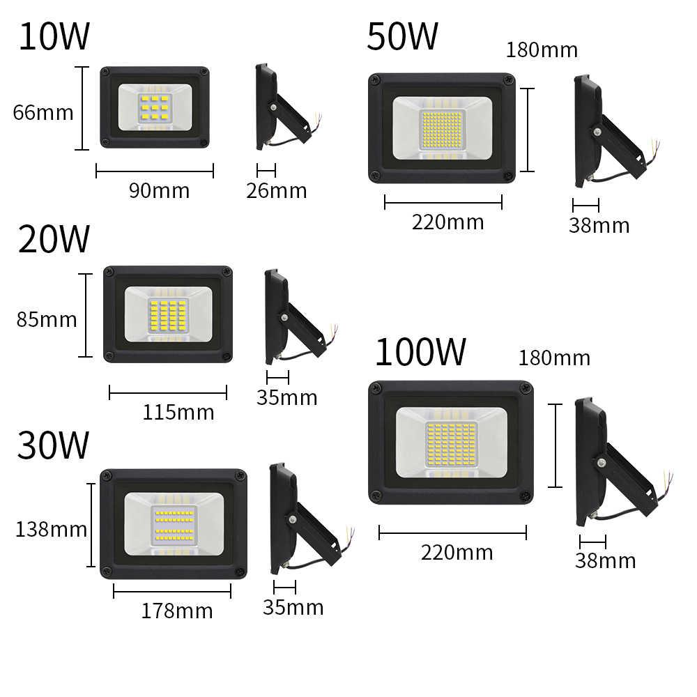 LED Flood Light 10W 20W 30W 50W 100W 220V-240V Floodlight IP65 Waterproof Outdoor Wall Reflector Lighting Park Square Spotlight