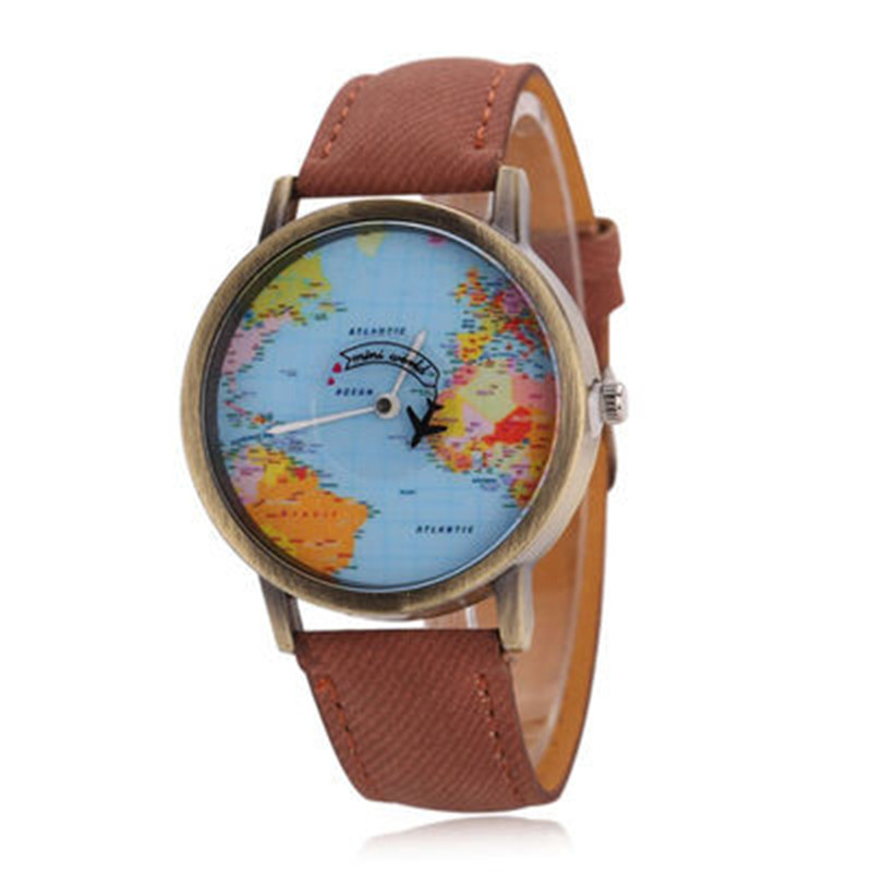 MEIBO Watches Women Global Travel By Plane Map Casual Denim Quartz Watch Casual Sports Watches For Ladies relogio feminino maisy goes by plane