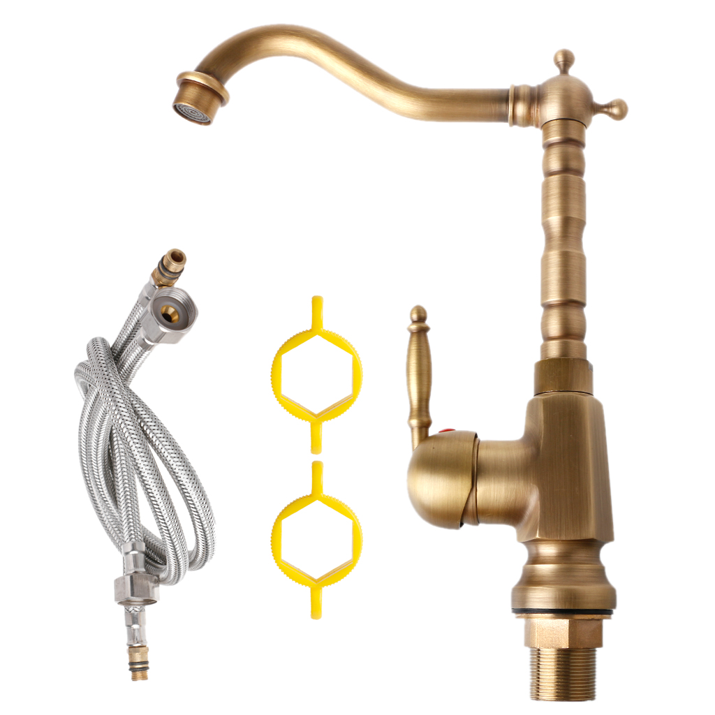 Us 35 37 23 Off Lmprovement Antique Brass Kitchen Faucet 360 Swivel Bathroom Basin Sink Mixer In Kitchen Faucets From Home Improvement On