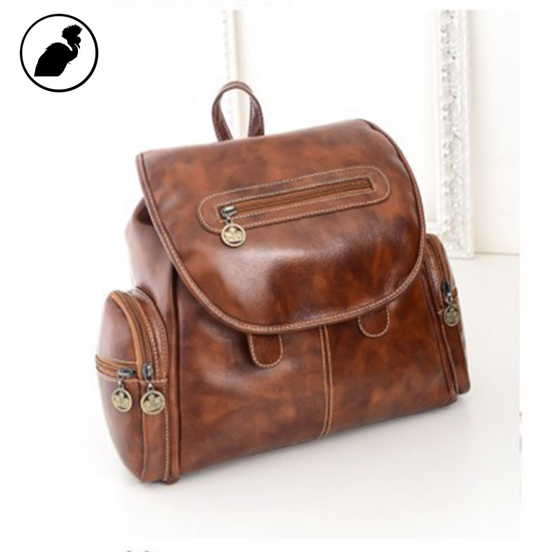 ETONWEAG Famous Brands Leather Schoolbag Backpack Brown BagPack Zipper School Bags For Women 2018 Travel Luggage Back To School