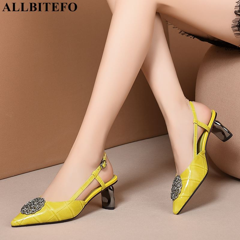 Ayakk.'ten Yüksek Topuklular'de ALLBITEFO moda marka metal süsler tam hakiki deri yüksek topuklu ofis bayan ayakkabı yaz plaj sandaletleri kadın sandalet'da  Grup 1