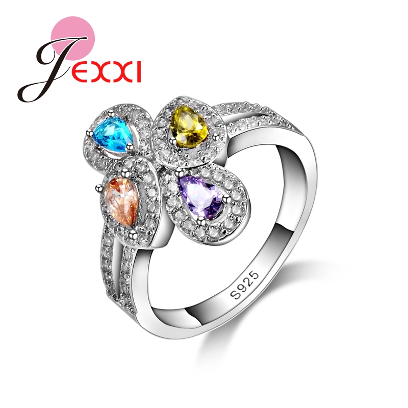 colorful eternity love ring birthstone bridal engagement wedding ring