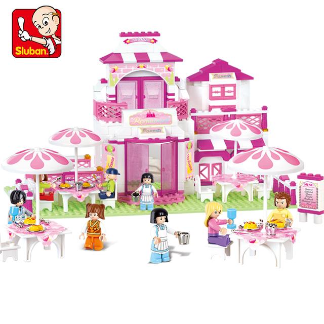 Romántico Restaurante Sluban Building Block Sets 306 unids Bricks Educación de BRICOLAJE Juguetes Para Niños Niños Chicas Jugar Juguete M38-B0150