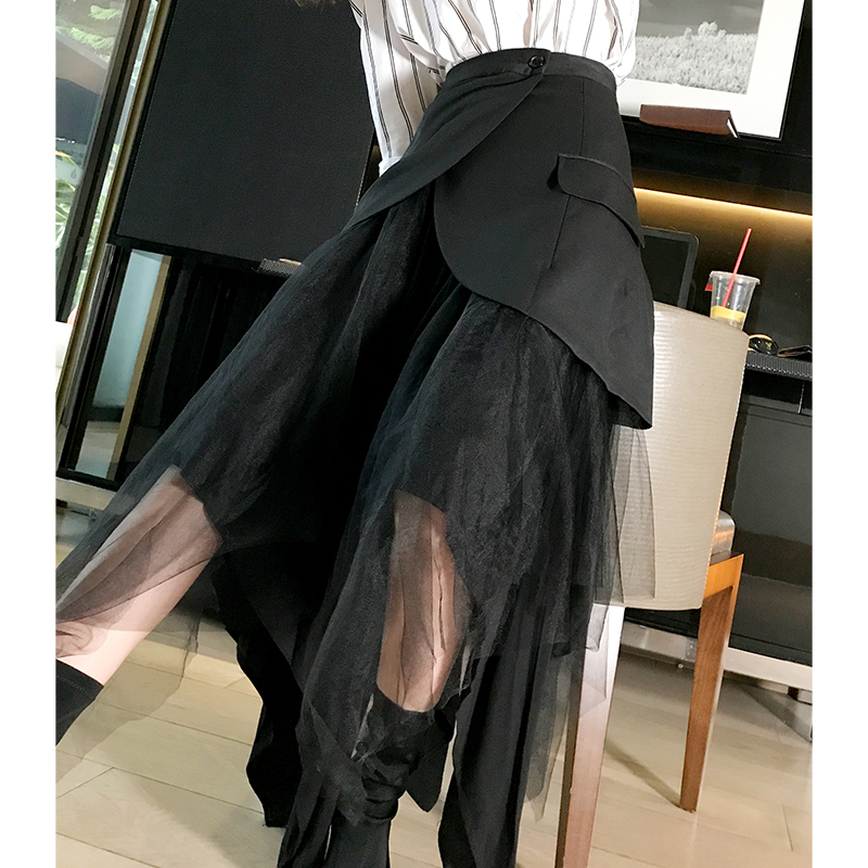 Todo Irregular Faldas El Alta Para Falda Dos Mujeres Getstring Largas Empalmados Malla Cintura Otoño Retro Falso Black Partido Negro Las ZqFtxP
