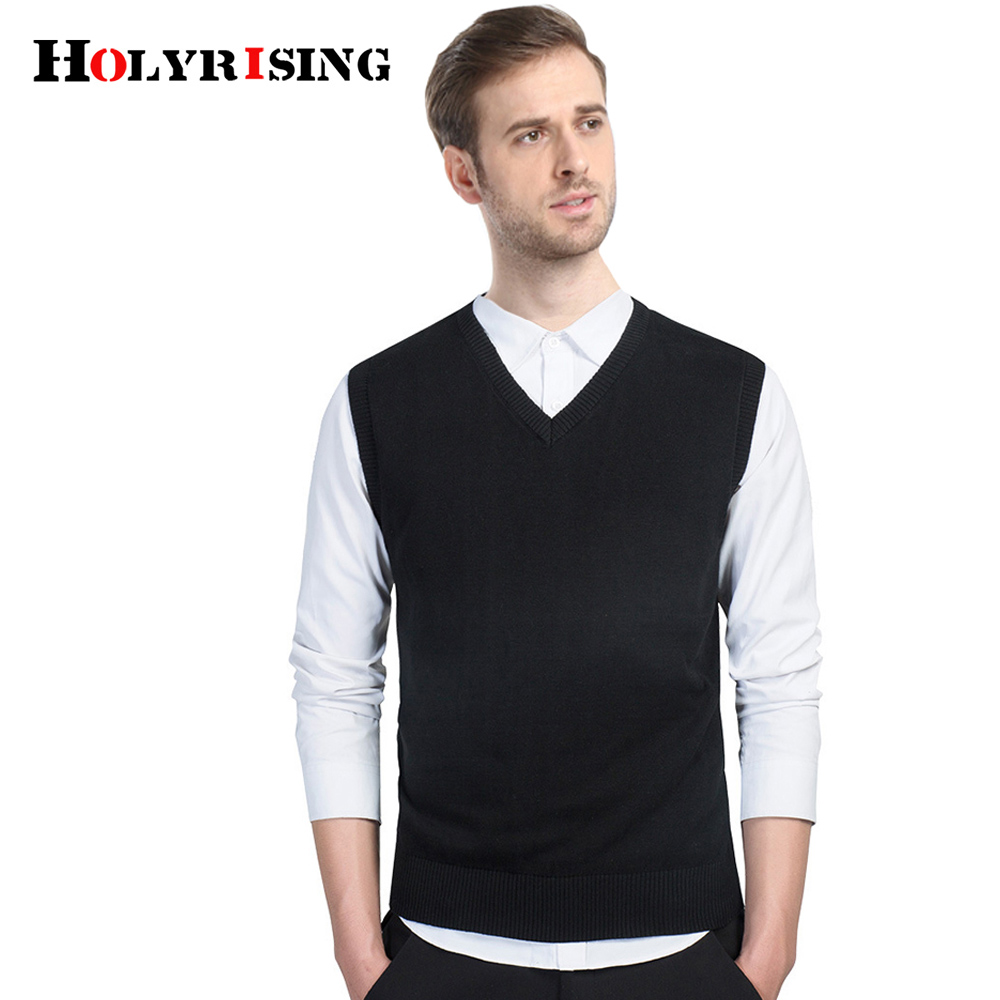 Holyrising Men Sweaters Sleeveless 100% Cotton Kitting Wear V Collar Sleeveless Garment Soft Pullover Vest Tops M-3XL 18599-5