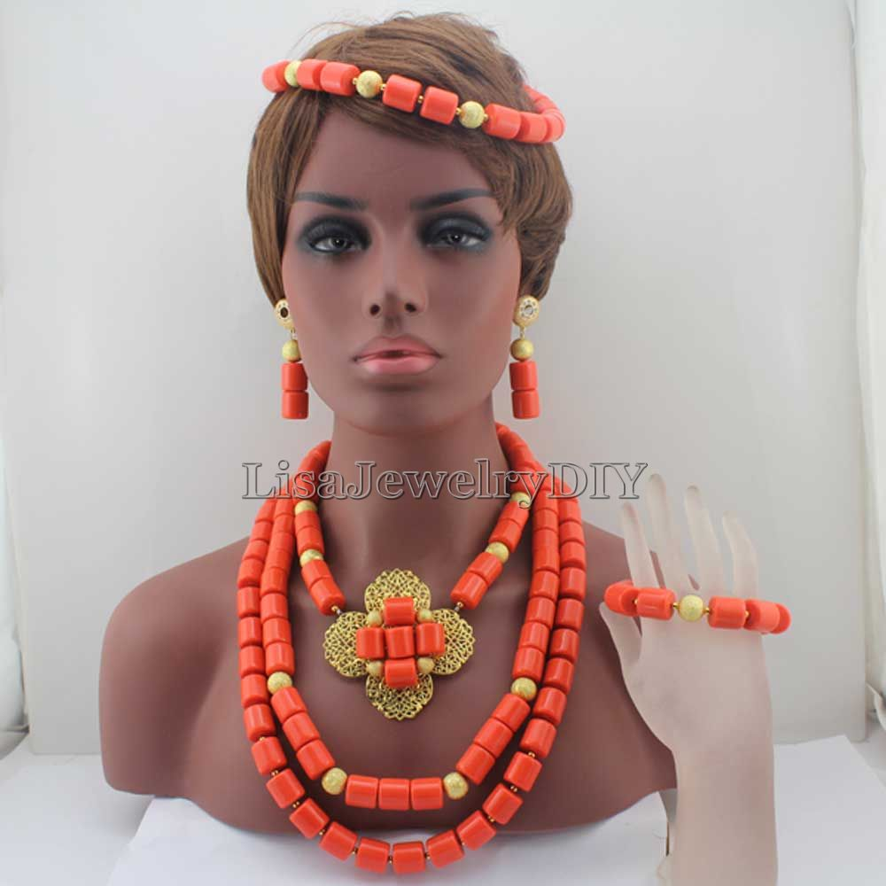 New Exclusive Orange African Fashion Beads Necklace Set Acrylic Beaded Jewelry Set Flower Head Bands Hair For Women HD7789