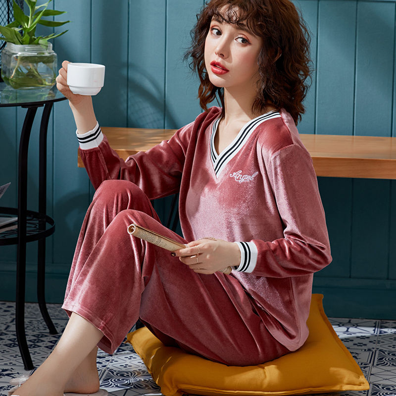 Velvet Women Pajamas Set Warm Sexy Winter Long Sleeves Pyjama Shirt Pants 2 Piece/Set Home Mom Sleepwear
