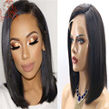 Silky Straight Lace Front Wigs 8A Bob Wig Peruvian Virgin Hair Glueless Full Lace Human Hair Short Bob Wigs With Baby Hair