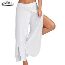 RONNYKISE Womens Fashion Leggings Solid Ruffles Stitching Wide Leg Pants Side Open Casual Loose Long Plus Size M-5XL