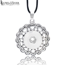 Metal Fashion Interchangeable Flower Crystal Ginger Necklace 041 Fit 12mm 18mm Snap Button Pendant Charm Jewelry For Women Gift