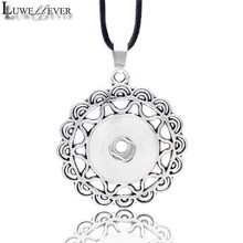 Metal Fashion Interchangeable Flower Crystal Ginger Necklace 041 Fit 12mm 18mm Snap Button Pendant Charm Jewelry For Women Gift(China)